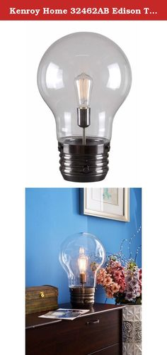 Kenroy Home 32462AB Edison Table Lamp, Antique Brass Finish. Here's a bright idea....a bulb in a bulb! Pop art meets the father of modern lighting in this whimsical Contemporary pendant.