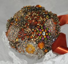 Brooch Bridal Bouquet of Amber and Orange by BeeLovedBouquets,