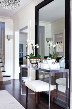 Floor Mirror in Foyer- like the idea of a mirror and a bench