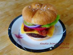 Needle felted Deluxe Burger by FunFeltByWinnie on Etsy, $100.00