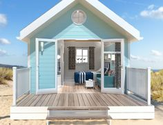 Beach Huts, beach chalets, beach living - Arch Leisure -Camping pods to chalets, toilet shower blocks, modular buildings and glamping Beach Cottage Kitchens, Beach Cottage Style, Beach House, Cubby Houses, Play Houses, Beach Hut Decor, Beach Cabana, Cool Tree Houses, Gardens