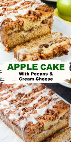 Apple Cake with a cream cheese pecan filling is sweet and delicious and made with fresh apples, pecans, and cream cheese with a sweet glaze over the top. Delicious, decadent, and you deserve this cake!  #AppleCake #FallRecipe #FlavorMosaic Apple Recipes, Fall Recipes, Baking Recipes, Sweet Recipes, Snack Recipes, Dessert Recipes, Fall Desserts, Delicious Desserts, Poke Cake Recipes