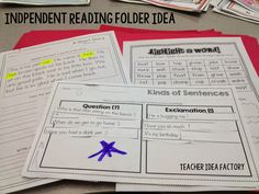 INDEPENDENT WORK FOLDERS - AN EASY READING CENTER SYSTEM