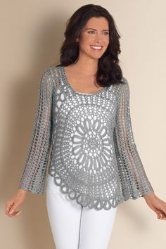 Women's Crochet Blossom Top - Crocheted Floral Top, Long Sleeve Floral Top, Crocheted Floral Blouse   Soft Surroundings
