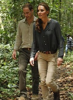 William and Kate walk through the rainforest in Sabah