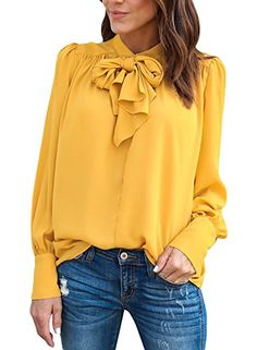 75911b3cf4c ROSKIKI Women s Tie Neck Long Puff Sleeve Dressy Shirts D... Yellow Long  Sleeve