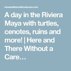 A day in the Riviera Maya with turtles, cenotes, ruins and more! | Here and There Without a Care…