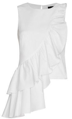 francis poplin ruffle top (Intermix) - Luxe Fashion New Trends - Fashion for JoJo Mode Top, Fashion Details, Fashion Design, Mode Vintage, Ruffle Top, Ruffles, White Tops, White White, Blouse Designs