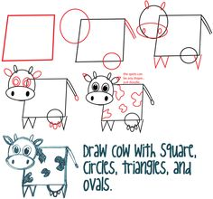 Step tutorial cow 2 Big Guide to Drawing Cartoon Cows with Basic Shapes for Kids