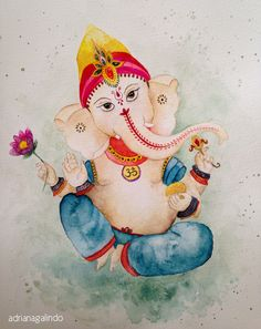 Lord Ganesha, aquarela / watercolor, 30 x 22,9 cm Adriana Galindo ( yoga namaste hinduismo)