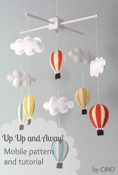 Baby Diy Mobile Colour 49 New Ideas Baby Crafts, Diy And Crafts, Felt Crafts, Diy Hot Air Balloons, Nursery Hot Air Balloon, Balloon Clouds, Purple Balloons, Baby Balloon, Balloon Banner