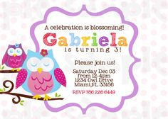 Owl+Blossom+Birthday+or+Babyshower+Invitation+by+HeartsandScraps,+$11.00