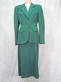 Super Vintage Ladies 1940s Suit Green Gabardine Fabric