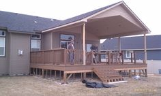 Covered Deck Plans To House More Beautiful Covering A Deck Covered ...