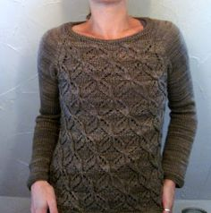 "this woman is a test knitting machine! Pictured here: the ""dragonflies jumper"" by Joji Locatelli (on Ravelry)."