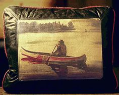 Twilight Canoeing Leather Pillow - classic....
