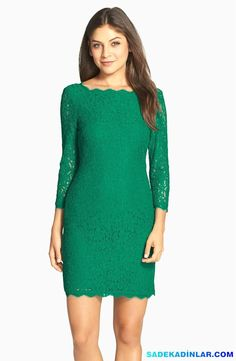 En Dikkat Çeken 2017 Gece Elbiseleri Ve Abiye Modelleri – Elbise Modelleri – Lace Overlay Sheath Dress