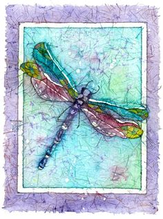 Original Batik Giclee, A Dragonfly showing his colors of turquoise,purple and fuchsia, 8x10 or 11x14. on Etsy, $20.00