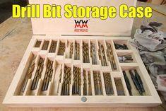 Drill Bit Storage Case – Woodworking for Mere Mortals Garage Tool Storage, Workshop Storage, Workshop Organization, Garage Tools, Garage Shop, Game Storage, Storage Ideas, Cool Woodworking Projects, Woodworking Workshop