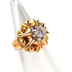 Superb Retro platinum and gold heavy dome ring, brilliant cut diamond, stamped 18K solid gold