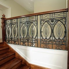Stunning Art Deco Stair Railing Designs For Modern Home Interior Wrought Iron Staircase, Wrought Iron Gates, Balcony Railing Design, Staircase Design, Grill Design, Wood Stairs, Art Deco Furniture, Home And Deco, Art Nouveau