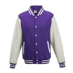 Just Hoods JH043 Purple and Arctic White Varsity Jacket - £19.35
