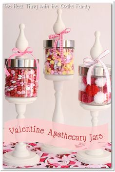 This is a great tutorial on how to make DIY apothecary jars. Love the cute Valentine's ideas to fill the jars. Perfect for my home decor.