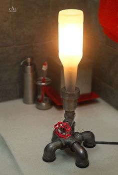 Bottle pipe lamp