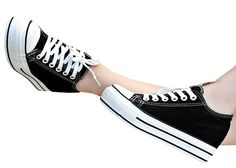 Popuus Women's Trendy Height Increasing Elevator Canvas Shoes ** Be sure to check out this awesome product.