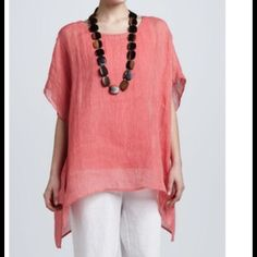Eileen Fisher Linen Stripe Poncho Top (m) NWOT! Gorgeous coral color with white pin stripes. 100% Linen. Side slits, sleeve holes. Looks amazing with white crop skinnies, white linen pants or shorts, or as a swim cover up! Large square cut, meant to hang loose. Fantastic piece! Hand wash, line dry. May be dry cleaned. No trades. Eileen Fisher Tops Tunics