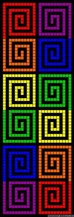 Rainbow squares perler bead pattern