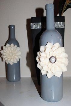 Wine Bottle Decor with Felt Flower on Etsy, $18.00