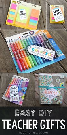 Grab these free printable back to school teacher gift tags to give the teacher on the 1st day! These DIY teacher gifts are cheap and useful ideas that include free printables for each. Create a cute custom tag for whichever gift you choose. Perfect for preschool, kindergarten, first grade and up! Get the printables at roommomrescue.com #backtoschoolteachergifts #diyteachergifttags #teachergifts