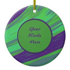 Personalized Ceramic Green Blue Christmas Ornament #zazzle #holiday #gifts