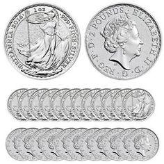 Buy 2016 Silver British Britannia Coins - 25 oz Total (BU, Tube/Roll of Gold American Eagle, Buy Coins, Silver Coins, Precious Metals, Tube, British, Stuff To Buy, Ebay, Free Shipping