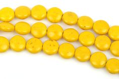 12mm YELLOW Howlite Round Coin Beads, full strand, 33 beads, how0451 by SmartParts on Etsy