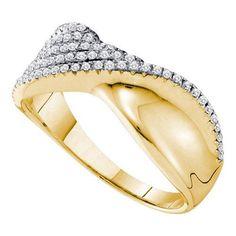 14k Yellow Gold 0.39Ctw Diamond Fashion Wedding Ring Band