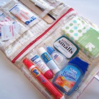 Use this pattern for a travel makeup bag. The plastic allows you to see where everything is without having to dig around.