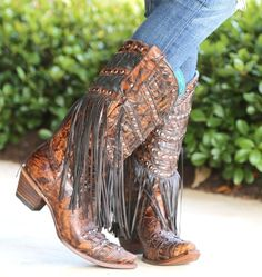 d660909263 Corral Brown Fringed Layers and Studs C3008. Corral Cowgirl StiefelCowboy  StiefelFransen ...