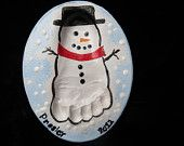 Snowman Baby Footprint Plaque-mold kit included