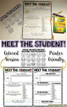 Meet the Student! Great activity for the first day of school! Editable and perfect for all grade levels!
