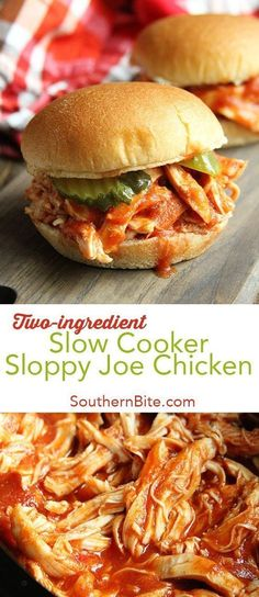 This Slow Cooker Sloppy Joe Chicken recipe only calls for 2 ingredients and gets supper on the table with absolutely no fuss! #easy #recipes #slowcooker #sloppyjoe #chicken