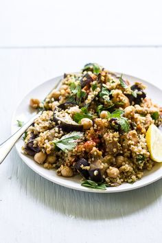 spiced eggplant, chicken + chickpea salad - The Clever Carrot