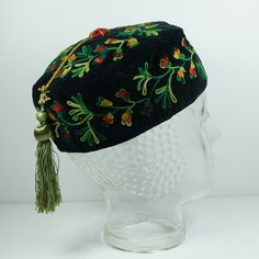 Antique Victorian Gentleman's Smoking Cap Velvet Embroidery 1860 Museum Quality from Trinity Antiques at rubylane.com