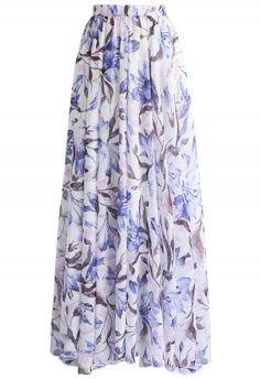 Purple Lilies Watercolor Chiffon Maxi Skirt