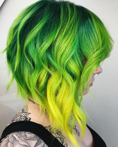If I told you I made this babes hair Green and yellow so we could make her hair magenta orange and y. Green Hair Ombre, Yellow Hair Color, Cool Hair Color, Purple Hair, Haircuts For Medium Hair, Medium Hair Styles, Pulp Riot Hair Color, Fashion Models, Neon Hair
