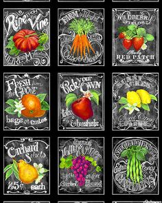 """Locally Grown - Farmer's Market Chalkboard - 24"""" x 44"""" PANEL - Quilt Fabrics from www.eQuilter.com"""