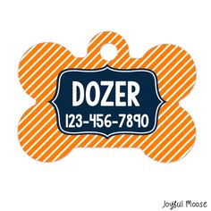 New to JoyfulMoose on Etsy: Personalized Dog Name Tag - Dog ID Tag - Boy Dog Custom Dog Collar Tag - Dog Tag Stripe Navy Orange (9.75 USD)