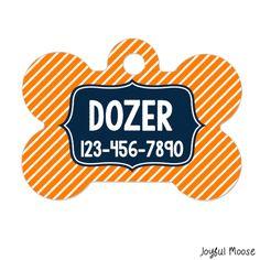 New to JoyfulMoose on Etsy: Personalized Dog Name Tag - Dog ID Tag - Boy Dog Custom Dog Collar Tag - Dog Tag Stripe Navy Orange (9.75 USD)