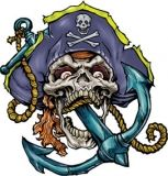 Anchor Pirate Skull Tattoo